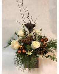 winter woodland bouquet with white