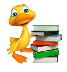 fun duck cartoon character with book stack stock ilration ilration of farm happy