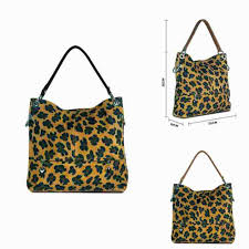 details about las leopard print italian leather shoulder bag bucket bag handbag mle1047