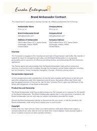 Example Of An Agreement Brand Ambassador Contract Template Pdf Templates Jotform