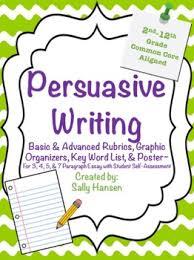 Persuasive Essay Rubric 2 Persuasive Writing Rubrics Graphic Organizers For Grades 2nd 12th