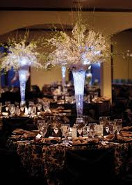 wedding table lighting. Tall Wedding Centerpieces | But With A Deep Purple Light In Centerpieces. I Even Like The Table Cloths Lighting