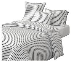 thin stripes black on white horizontal white stripes cotton duvet cover contemporary duvet covers and duvet sets by roostery