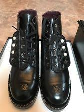 chanel combat boots. chanel pearl combat boots 2017 f/w size 9.5