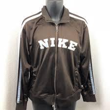 details about womens nike zip jacket windbreaker brown blue m athletic striped