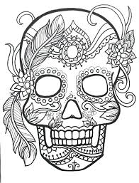 Coloring Pages Adults Printable Sugar Skull Day Of The Dead Original