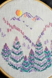 Mountain & Forest, Embroidery pattern, Hand embroidery, PDF pattern, hand embroidery  patterns by NaiveNeedle