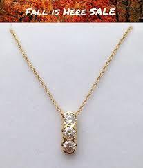 3 diamond drop pendant necklace past