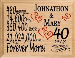 this wonderful personalized 40th anniversary gift solid american maple wood plaque is the perfect personalized 40 year anniversary gift idea for him or for