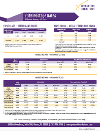 Usps Rate Chart 2019 2019 Postage Rate Chart Production Solutions Production
