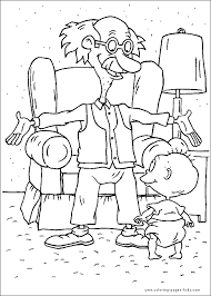 rugrats tommy and grandpa coloring page nickelodeon 90s