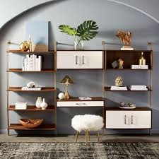 linden mid century wide shelf unit o