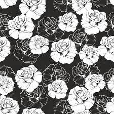 シームレスなベクター暗い花柄黒地に白のレトロなバラピンクの花と
