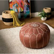 <b>Tan</b> Leather <b>Pouf</b> | Wayfair