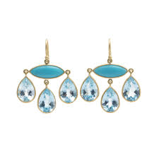 chandelier earrings featuring a marquis shaped cabochon turquoise suspending three pear shaped faceted blue topaz drops in matte finished 18k yellow gold