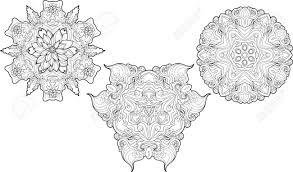 Three Black And White Mandalas Made Of Floral Elements Coloring