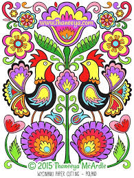 folk art coloring pages. Exellent Coloring Folk Art Paper Cutting Coloring Page By Thaneeya And Pages N