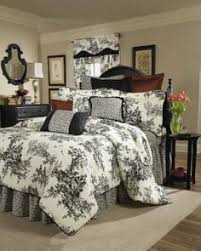 black toile bedding.  Bedding A Classic Black And Ivory Toile Bedding Collection Takes A Fresh New  Approach With Leaf Print Accent Coordinate Ebony Piping Detail In Black Toile Bedding E