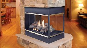 vented three sided view gas fireplace