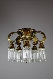 louis xvi crystal flush mount chandelier 5 light