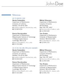 Listing References On Resume Mesmerizing Resume References Section In A CV TeX LaTeX Stack Exchange