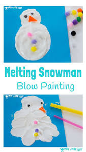 MELTING SNOWMAN BLOW PAINTING ACTIVITY - A Winter painting activity for  kids to enjoy the thrills