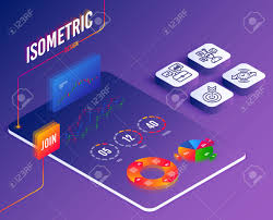 Isometric Vector Set Of Timer Business Portfolio And Quiz Test