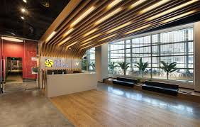 modern office ceiling. Stylish IKEA Reception Desk Ideas With Unique Wooden Ceiling Using LED Lighting For Modern Office Design