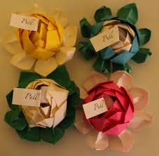 Ten 10 Origami Lotus Flower Wedding Favors Any Color 22 00