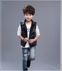 boys kids girls pu leather vest biker 2