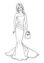 Barbie Pretty Dress Coloring Pages Free Printable Coloring Pages For