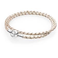 double round clasp white leather bracelet