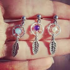 Dream Catcher Helix Earring Mini aretes Atrapa sueños Piercing helix Pinterest Piercing 19