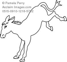 Small Picture Art Illustration of a Cartoon Donkey Coloring Page