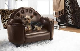 small dog furniture. Brown Faux Leather Pet Couch - Stylish Furniture-Grade Luxury Bed Small Dog Furniture