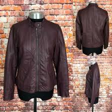 details about wallis faux leather jacket uk 12 women s oxblood biker style zip up coat las