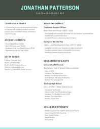 Simple Turqoise Customer Service Resume Templates By Canva