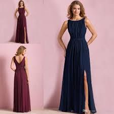 Dark Navy Blue Wine Red Colored Bridesmaid Dress A Line Chiffon