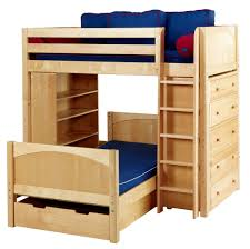 Birch wood constructed L-shaped bunk bed. The light wood tone offers a  brightness
