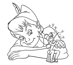 Small Picture Peter Pan and Tinkerbell coloring pages for kids printable free