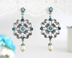 dangle chandelier silver lace tealblue bridal party swarovski crystal earrings