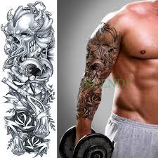 водостойкая временная татуировка наклейка на всю руку череп осьминог кракен