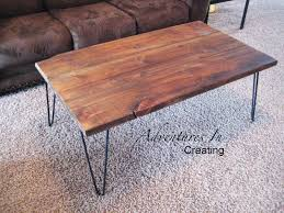 ... Hairpin Coffee Table Legs With Brown Rectangle Rustic Wood Top Designs  Ideas For Living ...