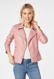 classic faux leather moto jacket in pink mauve get great deals at justfab