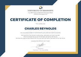 Example Certificate Summer Training Completion Certificate Sample