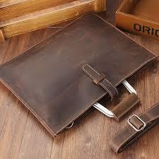 joyir 2018 crazy horse leather briefcase for man coffee color vintage men genuine leather messenger bag business bags male