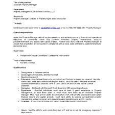 Maintenance Manager Resume Dazzling Property Manager Job Description