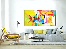 yellow and blue wall art palette knife painting original horizontal wall art abstract art canvas painting