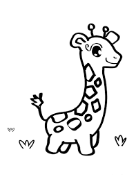 Cute Baby Giraffe Coloring Page   Animal pages of KidsColoringPage ...