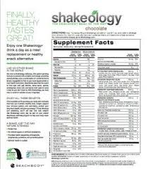 shakeology nutrition facts chocolate
